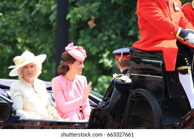 Trooping the color, London, England - June 17, 2017: Prince Harry, Kate Middleton and Camilla Parker Bowles in an open carriage, trooping the color 2017 for the Queens official birthday, London, UK.