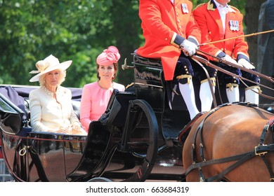 Trooping the color, London, England - June 17, 2017: Kate Middleton and Camilla Parker Bowles in an open carriage, trooping the color 2017 for the Queens official birthday, London, UK.