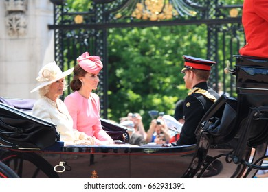 Trooping the color, London, England UK - June 17, 2017: Prince Harry, Kate Middleton and Camilla Parker Bowles trooping the color 2017 Queens official birthday stock photo, stock photograph, image