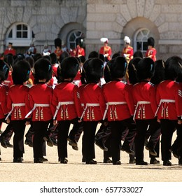 Trooping the Colour ceremony, London - Royal Guards marching.