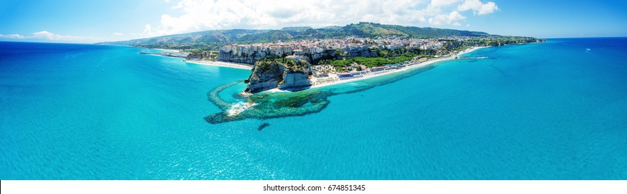 Tropea, Calabria. Panoramic aerail view of Santa Maria dell'Isola Monastery and wonderful coastline.