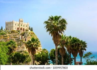 Tropea, Calabria, southern Italy. church Santa Maria dell'Isola in sunny day. travel concept