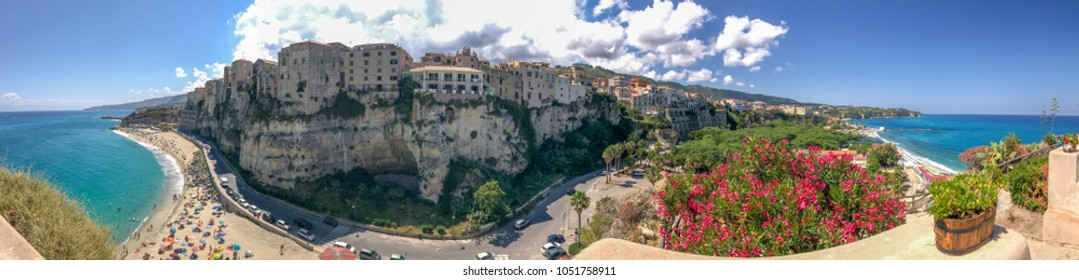 TROPEA, ITALY - JUNE 20, 2017: Panoramic view of city coastline from Monastery. Tropea is a major attraction in Calabria.