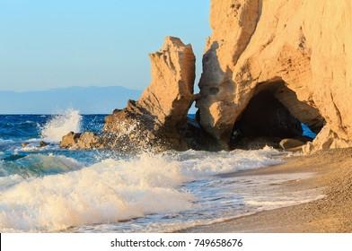 Tropea town beach, Calabria, Italy, Tyrrhenian Sea. People unrecognizable.