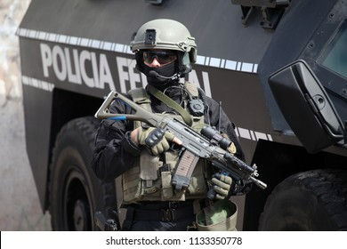 Tropezon, Buenos Aires, Argentina, 04-17-2018, Anti-narcotics police conduct a raid on a narco bunker
