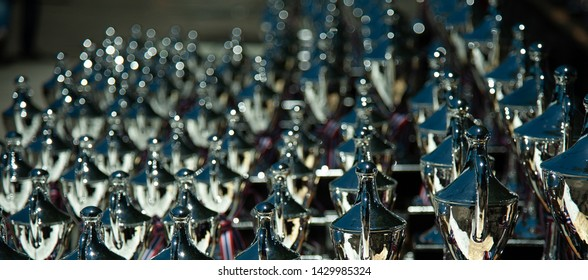 Trophies for sporting events, bokeh backgrounds
