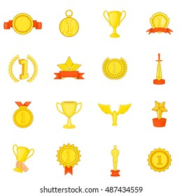 Trophy award icons set in cartoon style. Sports achievements set collection  illustration