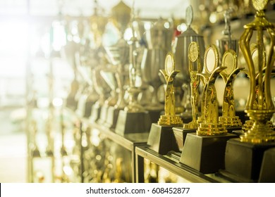 Trophy awards for champion people in home.