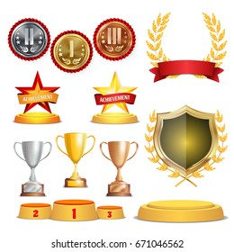 Trophy Awards Cups, Golden Laurel Wreath With Red Ribbon And Gold Shield. Realistic Golden, Silver, Bronze Achievement Medals. Sports Placement Podium. Isolated
