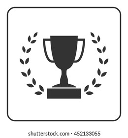 Trophy cup with Laurel wreath icon. Award sport sign. Symbol of winner, competition, champion best, victory emblem. Gray sign in frame on white background. Isolated design element. illustration