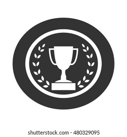 Trophy cup with Laurel wreath icon. Award sport sign. Symbol of winner, competition, champion best, victory emblem. White sign in frame on gray background. Isolated design element. illustration