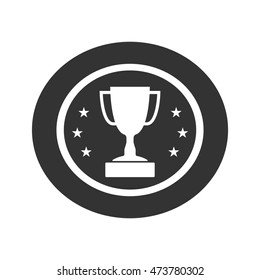 Trophy cup with stars icon. Award sport sign. Symbol of winner, competition, champion best, victory emblem.