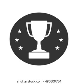 Trophy cup with stars icon. Award sport sign. Symbol of winner, competition, champion best, victory emblem. White sign in frame on gray background. Isolated flat design element. illustration.