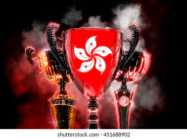 Trophy cup textured with flag of Hong Kong. 2D Digital illustration.