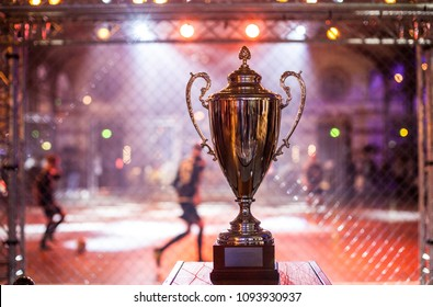 The trophy of the football tournament reminiscent of the Champions League cup.