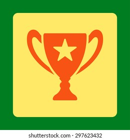 Trophy icon from Award Buttons OverColor Set. Icon style is orange and yellow colors, flat rounded square button, green background.