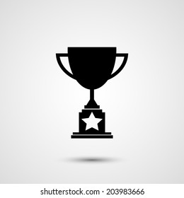 Trophy icon with star silhouette on white background