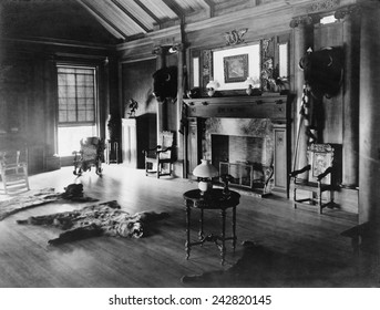 Trophy room at Sagamore Hill, summer home of President Theodore Roosevelt, with bison heads and a bearskin rug in front of a fireplace. Ca. 1905.