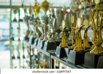 Trophy winner award in show room.