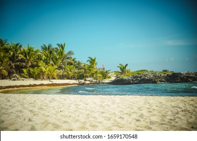 tropic beach with green palms and blue sky