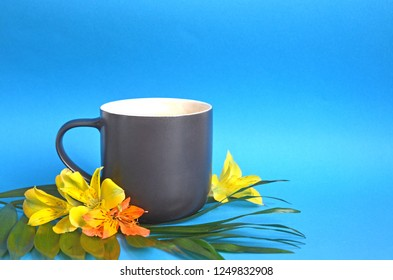 Tropic beverage. Warm up south countries. Mug ceramic cup and exotic flowers. Tropic tea concept. Drink tropic flowers tea. Mug on blue background copy space. Exotic drink recipe.