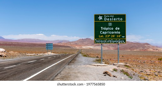Tropic of Capricorn crossing sign, along Route 23, the main scenic road in the north ofChile. The route runs fromCalamatoSico Pass, the border with Bolivia. The road passes near Miscanti Lagoon.