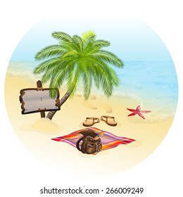 Tropic Island, sand beach and azure sea. Vacation and travel concept. Rasterized version