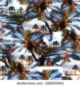 Tropic pattern collage palm trees on a sky blue seamless background. Exotic jungle repeating template. Beautiful photo mixing artistic design allover sunset and black silhouettes.