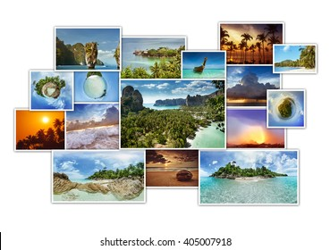 Tropic photos collage. Photo album concept