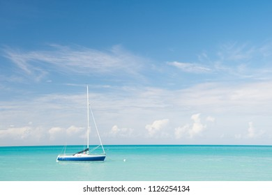 Tropic sea idyll. Water entertainment antigua st.johns all inclusive. Idyllic scene tropical vacation seaside. Motor sailing ship ocean blue water. Vacation entertainment tropical exotic islands.