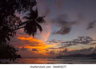 Tropic Sunset at Anse Severe, Seychelles