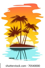 Tropical abstract background with palms and sunset. Vector version also available in gallery