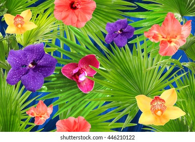 Tropical background with palm and different flowers. Floral clip art with layers effect. Seamless pattern.