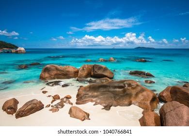 Tropical beach Anse Lazio, Praslin island, Seychelles
