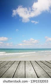 Tropical beach background and empty wooden, Summer.