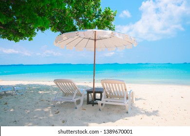 Tropical beach background as summer landscape with Beach chairs and beautiful sea view