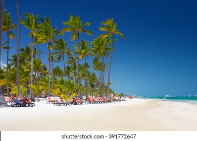 Tropical beach Bavaro at tourist resort in Punta Cana, Dominican Republic