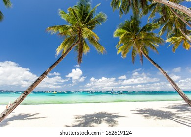 Tropical beach with beautiful palms and white sand, Philippines, Boracay Island