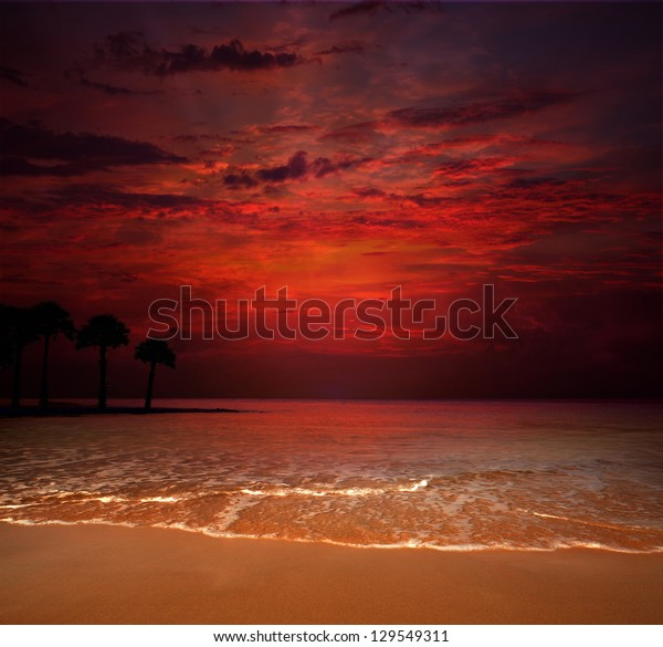 Tropical Beach Beautiful Sunset Nature Background Stock