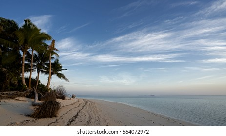 Tropical Beach in Bijoutier, one of the scenic Aldabra Group of Islands, a remote UNESCO World Heritage Site in Indian Ocean. Aldabra is the world's second-largest coral atoll.
