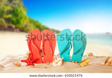 929fde630fc4d4 Tropical Beach Colored Flip Flops Summer Stock Photo (Edit Now ...