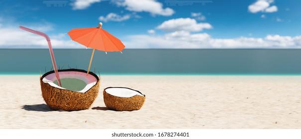Tropical beach concept made of coconut fruit and sun umbrella. Creative minimal summer idea, copy space for individual text