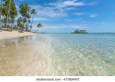 Tropical beach with emerald water in Brazil