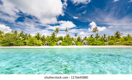 Tropical beach in exotic vacation destination. Luxury travel and tourism concept, beach scene