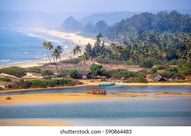 Tropical beach in Goa on a background of palm trees