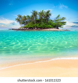 Tropical beach lagoon with palm trees. Thailand tourism panorama of island and ocean horizon