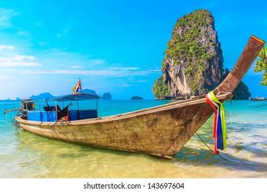 Tropical beach, longtail boats, Andaman Sea, Thailand