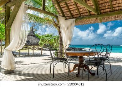 tropical beach lounge