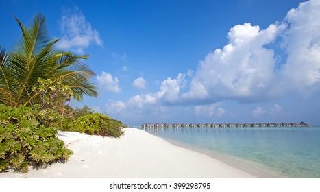 Tropical beach in Nalaguraidhoo Island in Maldive Islands,Indian Ocean