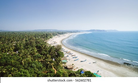 Tropical beach with ocean and palm taken from drone. Goa India - aerial view photo.
